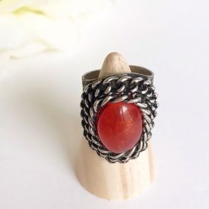 Silver Tone Faux Red Coral Chain Detail Ring sz 7